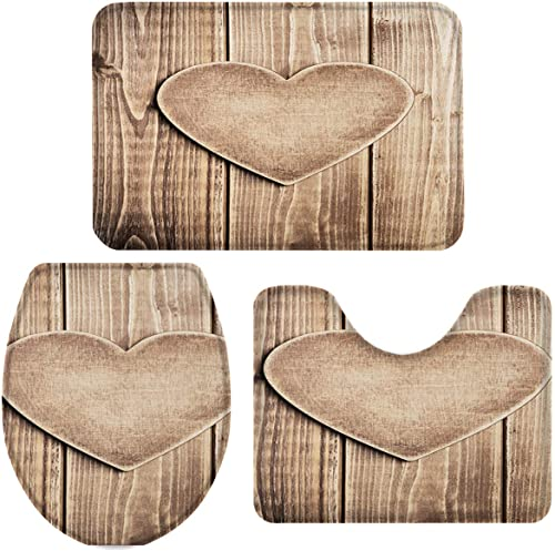 Queenker 3 Pieces Bath Rug Set Toilet Seat Cover Heart-Shaped Plank Print Contour Rug