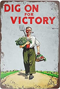 HERYNLRN Tin Signs Vintage Dig On for Victory Metal Sign Iron Painting for Indoor & Outdoor Home Bar Coffee Kitchen Wall Decor 8 x 12 INCH