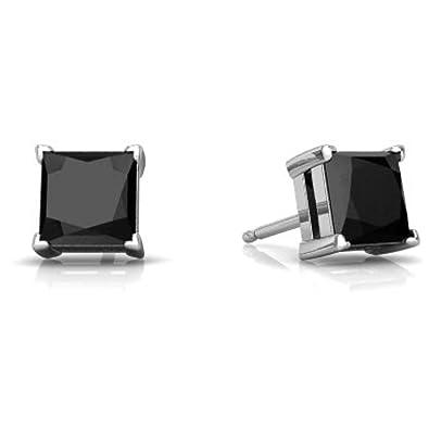 d8e8c520808b4 Genuine Black Onyx Princess Cut Stud Earrings .925 Sterling Silver Rhodium  Finish