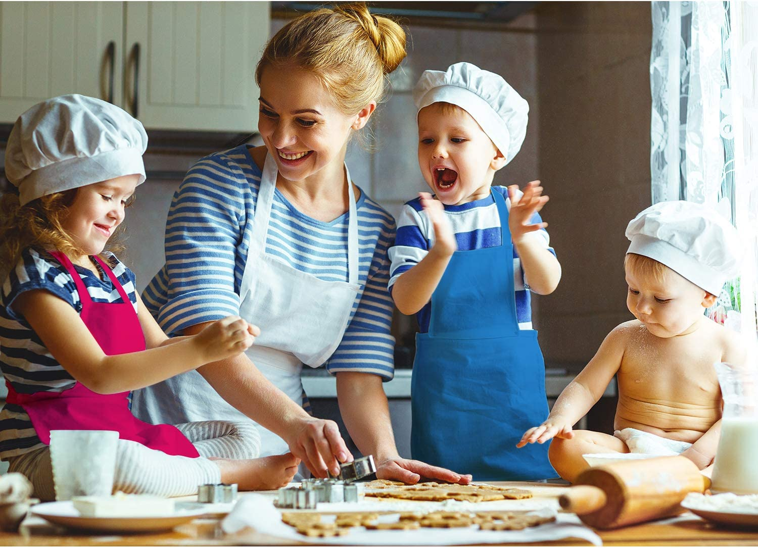 SATINIOR 12 Pieces Kids Apron Adjustable Children Aprons Kids Chef Cooking Baking Aprons Kids Painting Kitchen Apron with Pocket for Boys and Girls Multi-Color, L for 7-13 Age