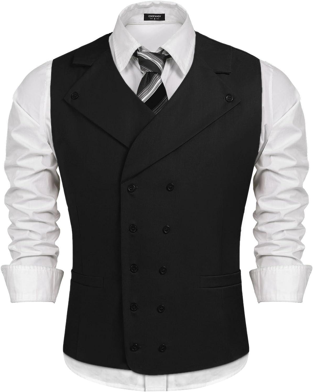 JINIDU Men Dress Suit Vest Double Breasted Slim Fit Business Waistcoat