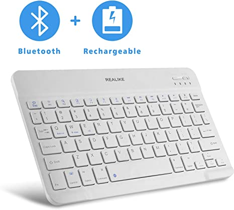 White Laptops Notebooks Tablets REALIKE Bluetooth Keyboard Mini Wireless Rechargeable Keyboard Universal Layout Compatible with IOS Android and Windows System for Smart Phones