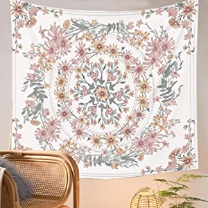 Floral Mandala Tapestry Wall Hanging - Pink Flower Wall Tapestry Sketched Plant Bohemian Wall Decor for Girls Dorm Room Decoration