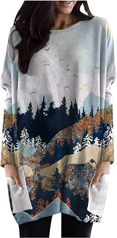 Portazai Womens Blouse Shirts Long Sleeve Floral Printed Sweatshirts Cute Graphic Casual Loose Pullover Tops for Women