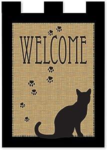 Magnolia 01817 Pawprints Cat Welcome Garden Flag, 13