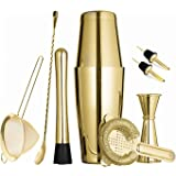 Gold Boston Cocktail Shaker Set for Professional Bartender and Home Bar Including 18oz & 28oz Tins Shaker, Strainer, Measuring Jigger, Muddler,Mixing Spoon and Cocktail Pourer (9 Piece)