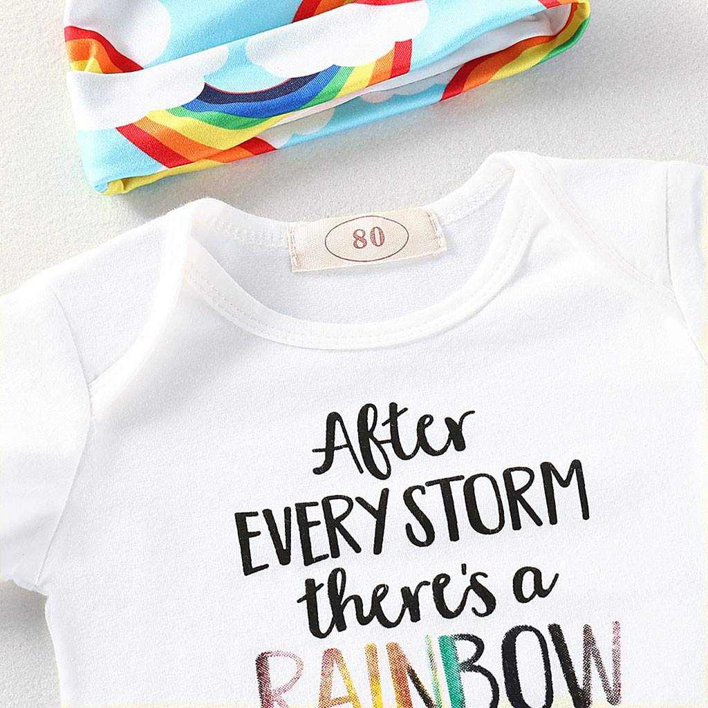Cuekondy Newborn Toddler Baby Girls Boys 2019 Summer Clothes Outfits Letter Print Romper Jumpsuit+Rainbow Pants+Hat Set