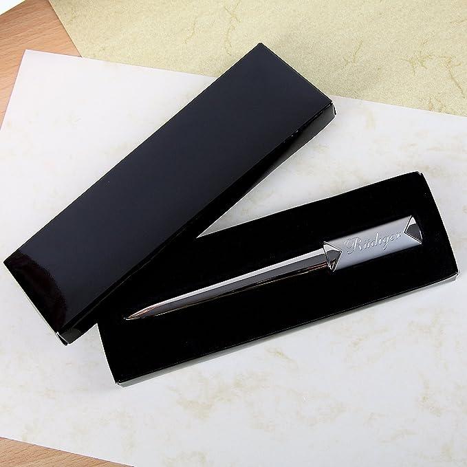 Herz /& Heim/® Brief/öffner mit Gravur Ihres Wunschnamens in edler Geschenkverpackung
