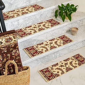 NaturalAreaRugs Sydney, Polypropylene Cream/Multi, Handmade Stair Treads  Carpet Set of 13 (9