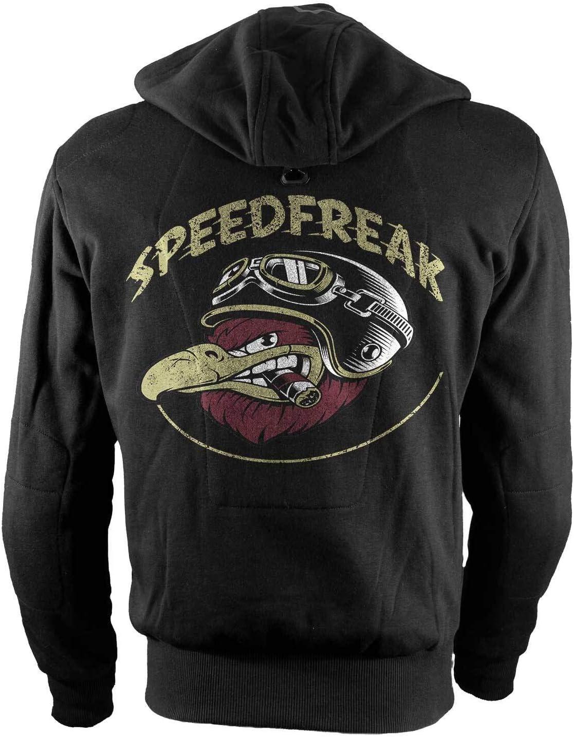 Rebel on Wheels Biker-Hoodie Motorrad-Hoodie Aramid Speedfreak Schwarz Kapuzen Jacke Motorrad S