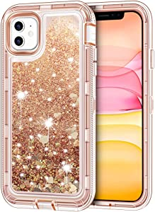 "iPhone 11 Case, Anuck 3 in 1 Hybrid Heavy Duty Defender Armor Case Sparkly Floating Liquid Glitter Protective Hard Shell Shockproof Anti-slip TPU Bumper Cover for Apple iPhone 11 6.1"" 2019 - Rose Gold"