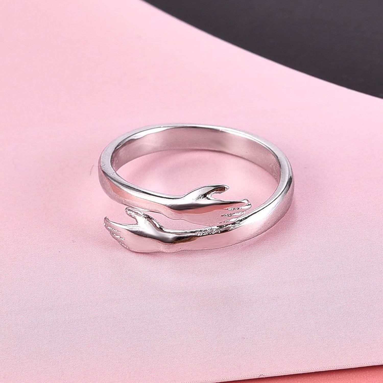 Amazon.com: DALARAN Silver Hug Ring Hands Band Wedding Engagement ...