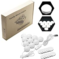 BECROWM Hollywood Style LED Vanity Mirror Lights Kit with 10 LED 5 Levels Brightness Light Bulbs White Light for Vanity Makeup Dressing