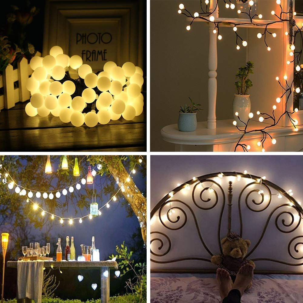 Garden Decoration 10ft Party Wedding Silvery Copper Wire Led Strip Light for Home New Year 3m Decorative Fairy String Lights Battery Operated 20 LED Christmas Warm White GLANDOTU Globe String Lights