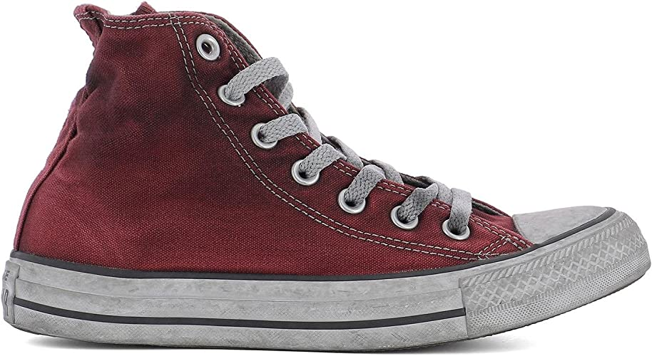 Converse Femme 156937C Rouge Tissu Baskets Montantes: Amazon ...