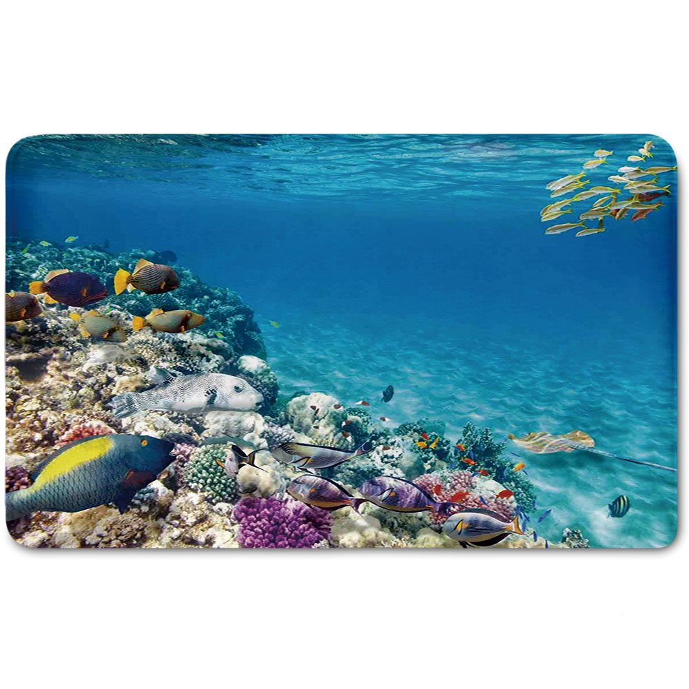 Memory Foam Bath Mat,Ocean,Clear Underwater Sea Life Animal World Corals Tropical Fishes and StingrayPlush Wanderlust Bathroom Decor Mat Rug Carpet with Anti-Slip Backing,Aqua Purple and Tan
