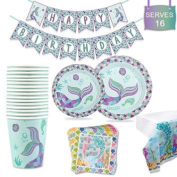 Amazon.com: Suministros de fiesta de sirena, decoraciones de ...