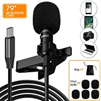 Ryqtop,Professional Lavalier Microphone for Type-C,Phone Microphone,USB C Microphone,For Interview, Video, Recording…