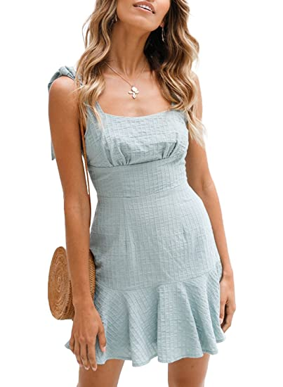 036bf669e73 Image Unavailable. Image not available for. Color  ZESICA Women s Summer  Strap Bowknot Solid Color Backless A Line Beach Short Dress