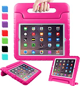 """AVAWO Kids Case for 9.7"""" iPad 2 3 4 (Old Model) - Light Weight Shock Proof Convertible Handle Stand Kids Friendly for iPad 2, iPad 3rd Generation, iPad 4th Generation Tablet - Magenta/Rose"""