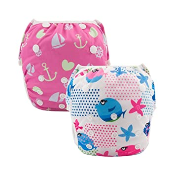 ALVABABY Swim Diapers 3pcs One Size Reuseable Washable /& Adjustable for Swimming Lesson /& Baby Shower Gifts