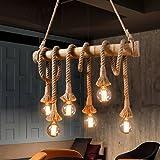 Aiwen Cáñamo cuerda de la lámpara de techo de la lámpara(No incluya la fuente de luz)Marrón(6 portalámparas)