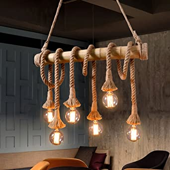 Aiwen hemp rope chandelier pendant light ceiling lampbulbs not aiwen hemp rope chandelier pendant light ceiling lampbulbs not included brown 6 lamp aloadofball Images