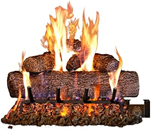Peterson Real Fyre 24-inch Live Oak Log Set with Vented Burner, Auto-Safety Pilot Control Valve and Gas Connection Kit (Propane Gas Only)