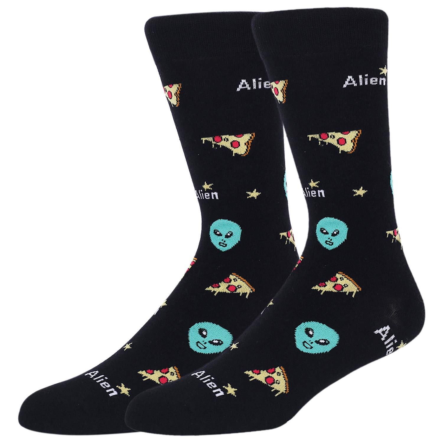 Mens Space Novelty Crew Socks Funny Crazy Socks Alien Astronaut Planet Pizza Casual Socks