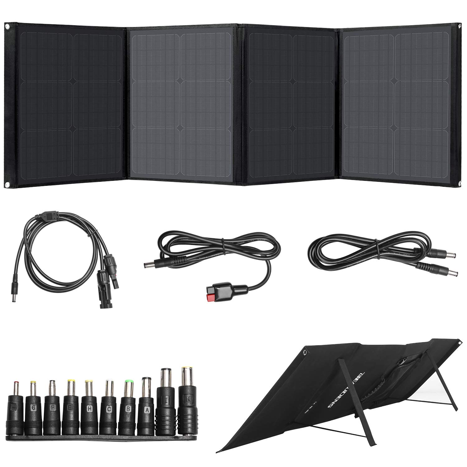 BEAUDENS 100W Solar Panel, Foldable Stand, Support Type C/DC/QC3.0/USB Ports, Portable Solar Charger for Jackery Explorer 240/Suaoki/Enkeeo/ROCKPALS Power Station Generator and Laptop iPhone iPad by BEAUDENS