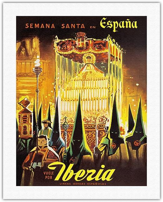 Pacifica Island Art Iberia-Semana Santa en España -Fly de Iberia Air Lines de España-World Vintage c.1950s Cartel del Viaje-impresión del Laminado en Lienzo de la lámina-20in x 26in: Amazon.es: Hogar