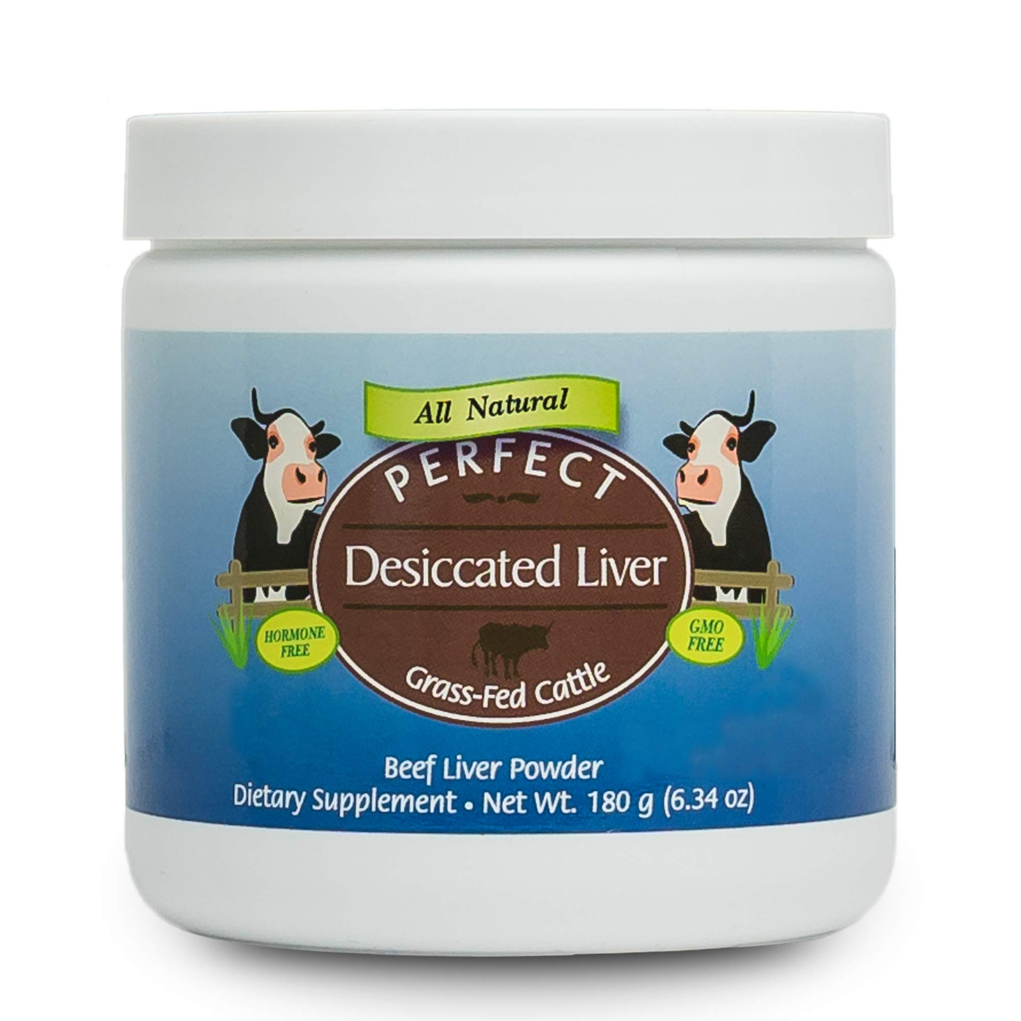 Perfect Desiccated Liver Powder, 100% Grass Fed Undefatted Argentine Natural Beef Liver Supplements, 180 Grams