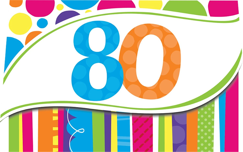 Amazon.com: 8-Count Birthday Invitations, 80th Bright and Bold ...