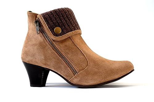 Damen Stiefeletten echtes Wildleder   Ankle Boots Leder braun High Heels