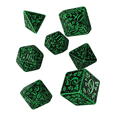 Q WORKSHOP Forest Engraved green & black RPG ornamented Dice Set 7 polyhedral pieces: Toys & Games