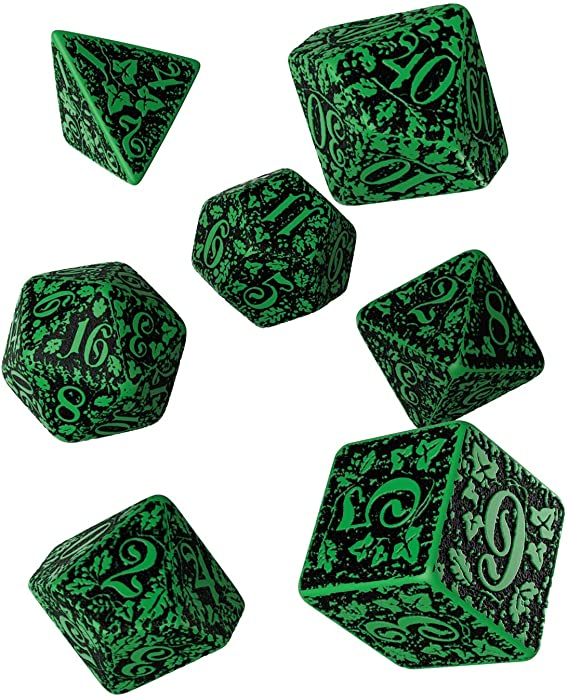 Q WORKSHOP Forest Engraved green & black RPG ornamented Dice Set 7 polyhedral pieces