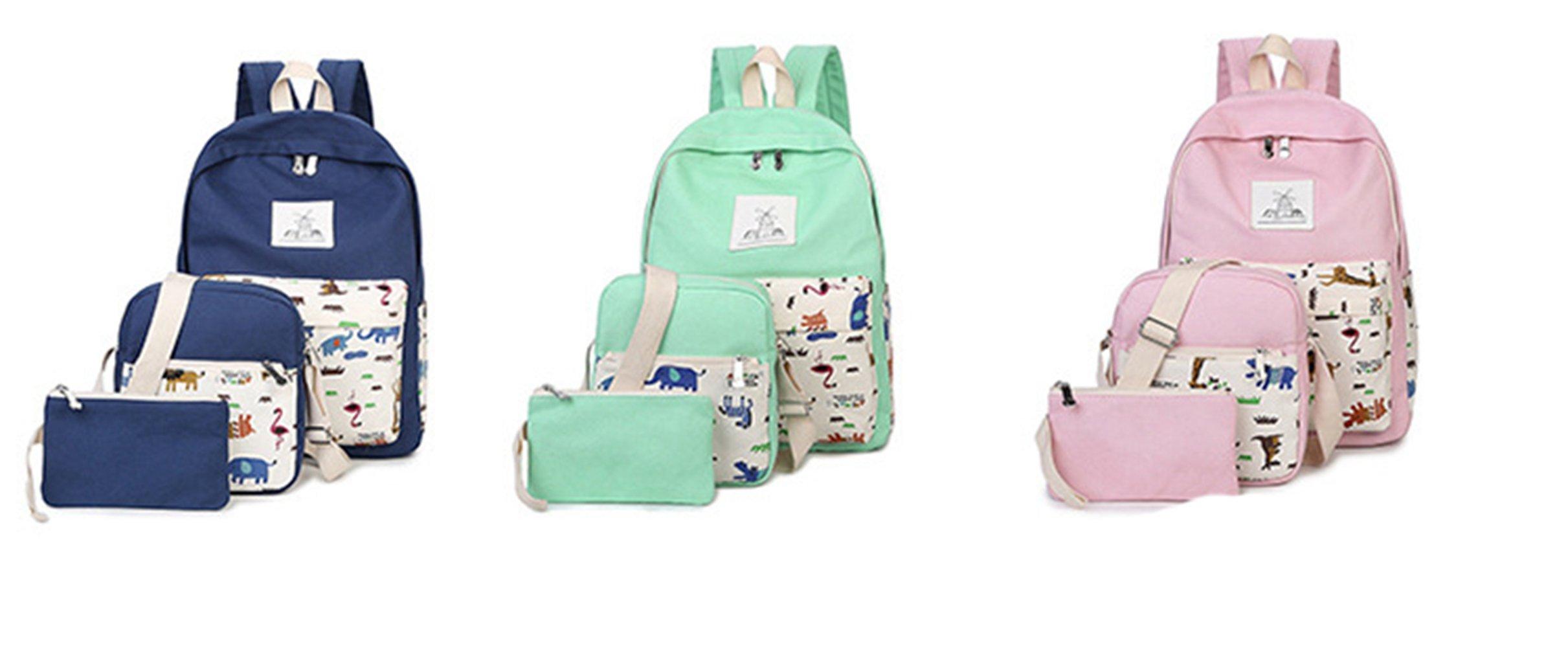 Zehui Women Canvas Backpack Rucksack Travel Shoulder School Messeger Purse Bag Set Navy Blue