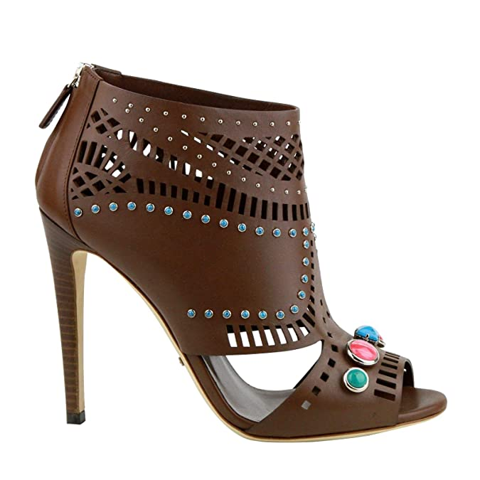 d34100f6a1a Amazon.com  Gucci Women s Brown Opened Toed Heel Boots with Gem Detail  371057 2548  Shoes