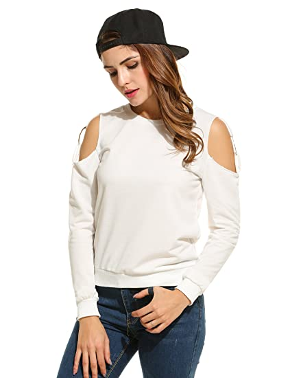 55b80beb3818b3 Meaneor Women's Long Sleeve Cold Shoulder Steel Ring Trendy Top Blouse:  Amazon.ca: Clothing & Accessories