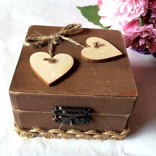 Flameer Hochzeit Ringkissen Holz Ring Box Herz 8 X 8 X 8 Cm