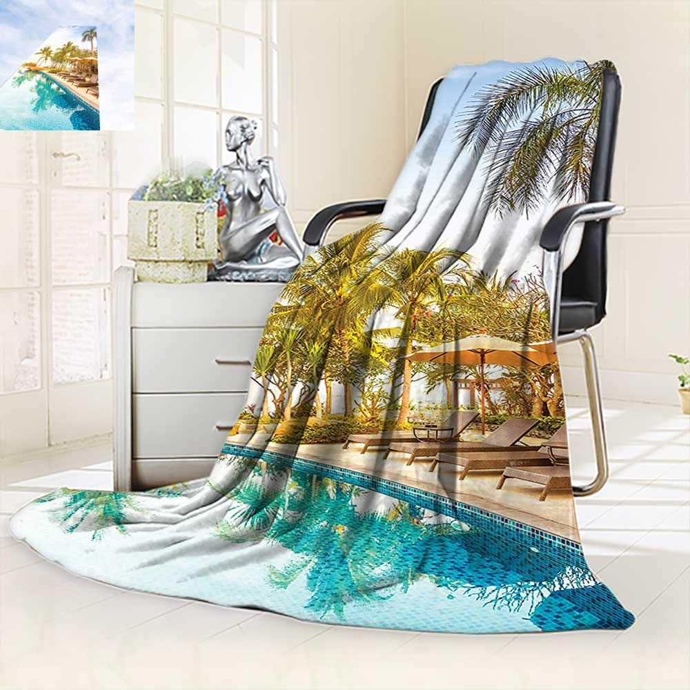 vanfan Soft Warm Cozy Throw Blanket Aerial View A Pool in A Health Resort Spa Hotel Exotic,Silky Soft,Anti-Static,2 Ply Thick Blanket. (60''x50'')