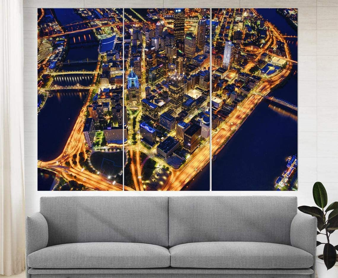Marchak Pittsburgh Canvas Art, Pittsburgh Skyline, Pittsburgh Print, Pittsburgh Wall Art Pennsylvania Photo Pittsburgh Poster Office Wall Décor