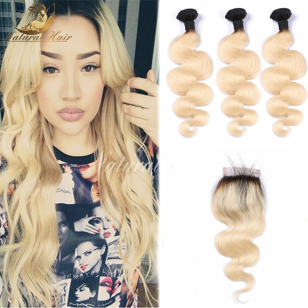 Brazilian T1b/613 Colored Two Tone 8A Hair Weave 3pcs With Closure Blonde Virgin Hair Dark Roots Ombre 613 Human Hair(20 22 24 with 18 Inch)