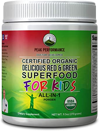 Kids Greens and Reds Superfood Powder. Best Tasting Organic Vegan Super Food Juice with 25+ Real Fruits and Vegetables. Gluten Free Real Food Vitamins. Green and Red Superfoods Supplement for Children