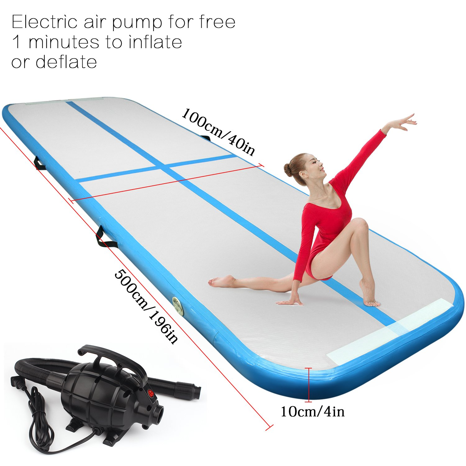 FBSPORT 16.4ft air Track Tumbling mat Inflatable Gymnastics airtrack with Electric Air Pump for Practice Gymnastics, Tumbling,Parkour, Home Floor