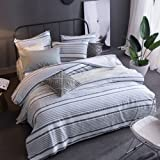 Merryfeel Cotton Duvet Cover Set,100% Cotton Yarn Dyed Striped Duvet Cover and Pillowshams, 3 Pieces Bedding Set - Full/Queen
