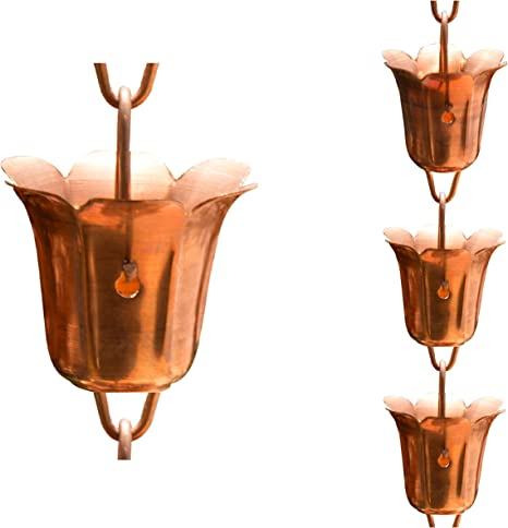 3 Feet Length Monarch Pure Copper Hammered Cup Rain Chain Extension