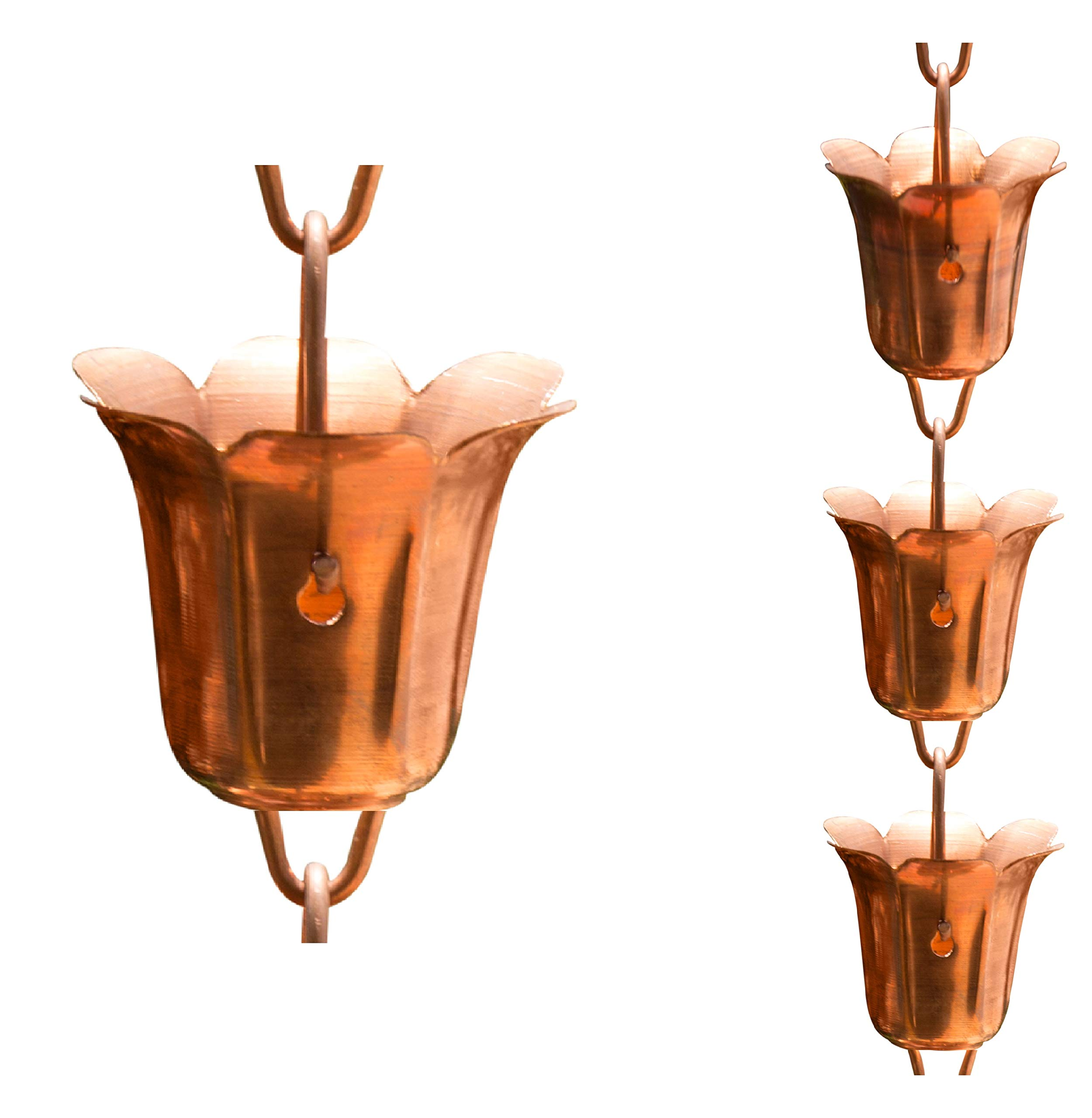 Monarch Pure Copper Tulip Cup Rain Chain, 8-1/2-Feet Length