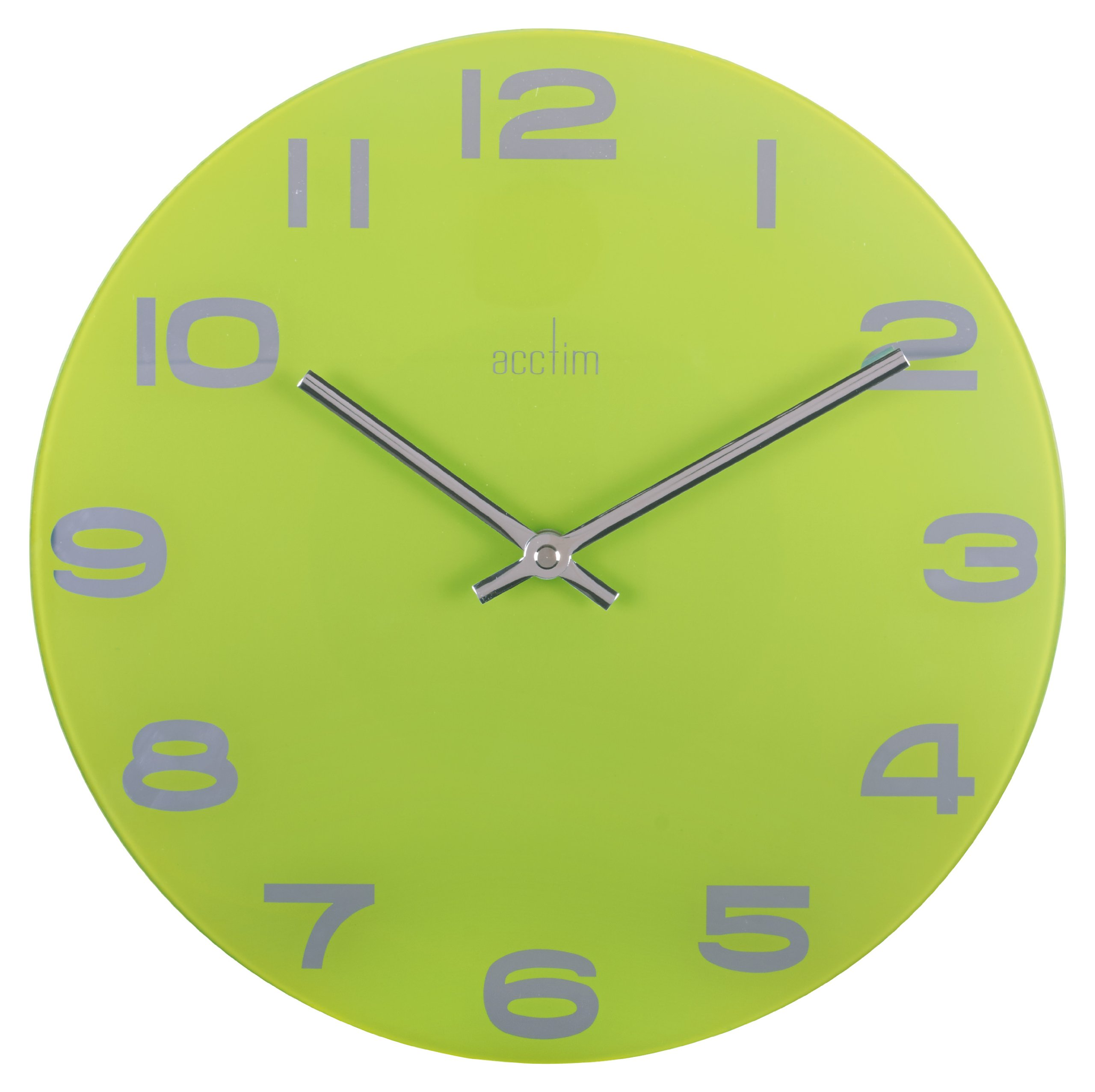 Acctim Mika Glass Wall Clock 30cm Lime - Lime green coloured glass wall clock Mirrored arabic dial Metal hands - wall-clocks, living-room-decor, living-room - 719z yBCykL -