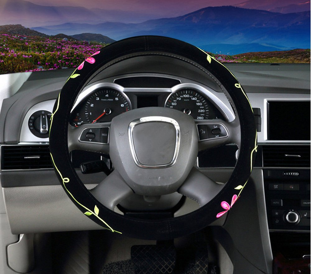 Yellow Butterfly Mayco Bell 2018 Automotive Women Embroidery Cute Car Steering Wheel Cover